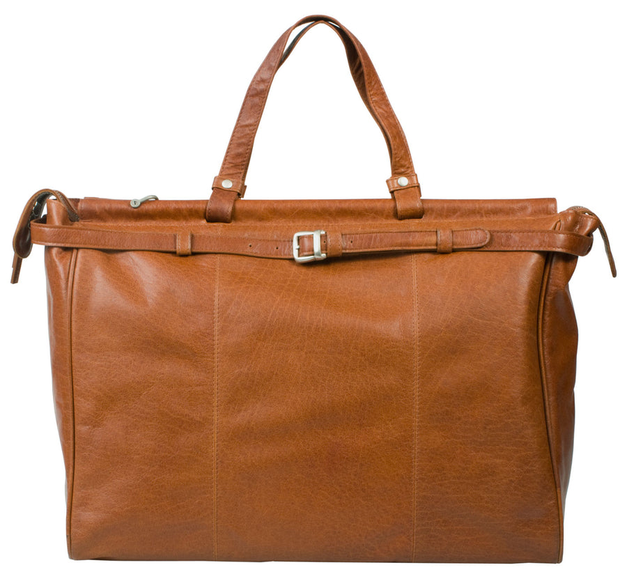 HIDEONLINE TAN/ COGNAC LEATHER TOP ROD HOLDALL / DUFFLE / CABIN BAG