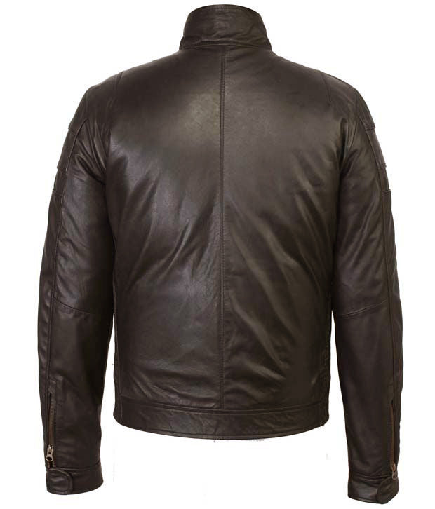 BLACK FRIDAY SALE!! BROWN REAL LEATHER TRENDY MENS BOMBER RACER BIKER STYLE JACKET
