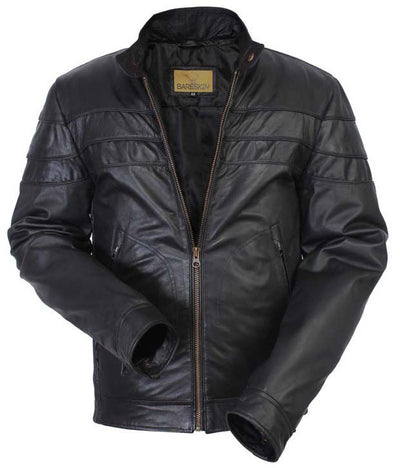 BLACK FRIDAY SALE!! BLACK REAL LEATHER TRENDY MENS BOMBER RACER BIKER STYLE JACKET