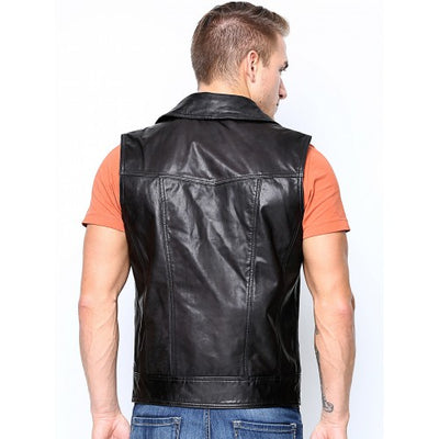 BLACK FRIDAY SALE!! BLACK REAL LEATHER MENS BIKER STYLE WAISTCOAT JACKET