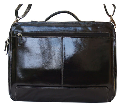 "HIDEONLINE PATENT REAL LEATHER BLACK 17"" LAPTOP CASE"