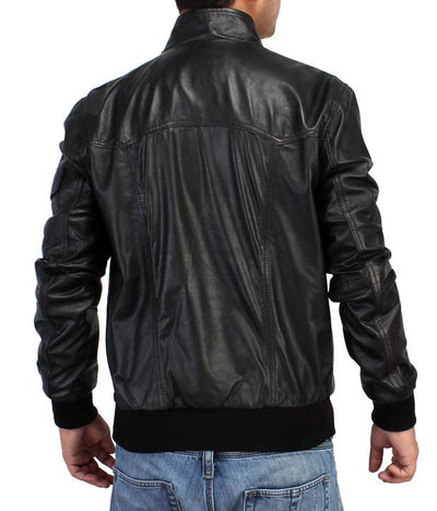 BLACK FRIDAY SALE!! BLACK REAL LEATHER MENS BOMBER RACER BIKER STYLE JACKET
