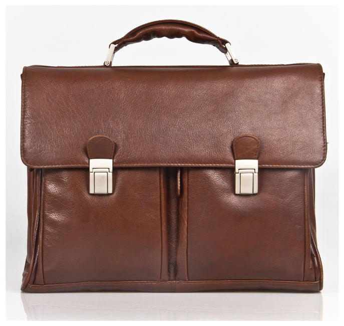 HIDEONLINE BROWN ITALIAN LEATHER LAPTOP BRIEFCASE