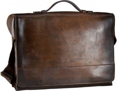 JOST RANDERS 2453 COGNAC LEATHER LARGE MESSENGER BAG / BRIEFCASE