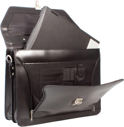 HIDEONLINE BLACK LEATHER LAPTOP BRIEFCASE