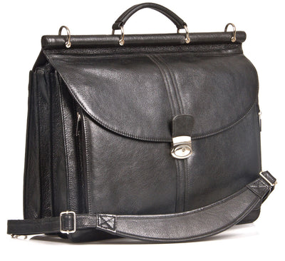 "HIDEONLINE BLACK ITALIAN LEATHER TOP ROD 17"" LAPTOP BRIEFCASE"