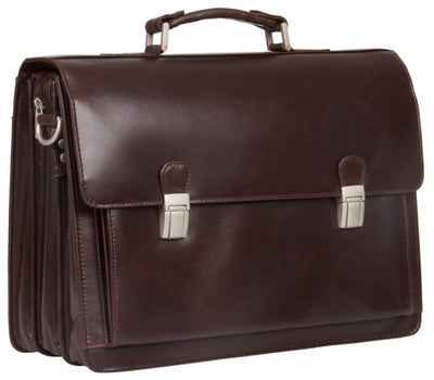 "HIDEONLINE BROWN ITALIAN LEATHER 17"" LAPTOP BRIEFCASE"