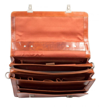 "HIDEONLINE COGNAC TAN ITALIAN LEATHER 17"" LAPTOP BRIEFCASE"