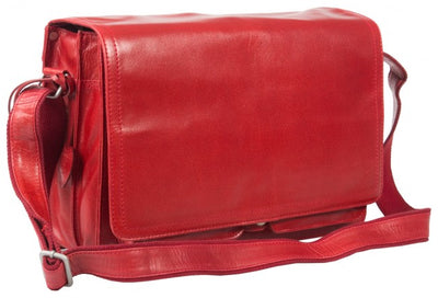 DEEP RED REAL LEATHER ORGANISER BAG, UNISEX MESSENGER BAG, LAPTOP COMPATIBLE