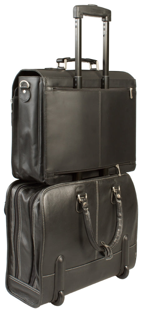LEATHER LAPTOP TROLLEY / WHEELED BUSINESS BAG