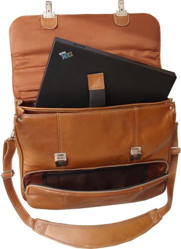 HIDEONLINE HAND CRAFTED TAN LEATHER BRIEFCASE