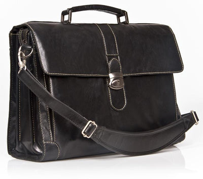 "HIDEONLINE ELEGANT & LUXURIOUS ITALIAN BLACK REAL LEATHER 17"" BRIEFCASE"