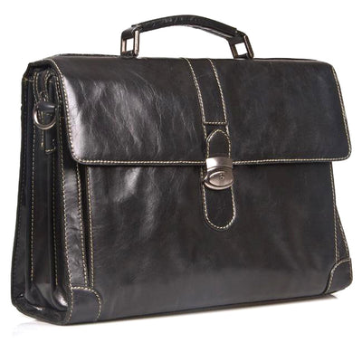HIDEONLINE ELEGANT & LUXURIOUS ITALIAN BLACK REAL LEATHER BRIEFCASE