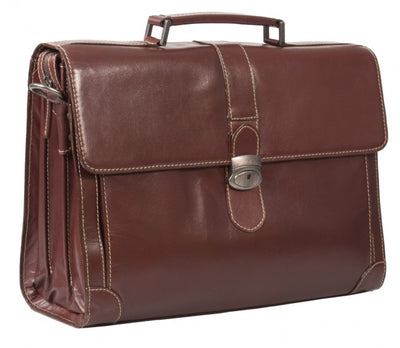 "HIDEONLINE ELEGANT & LUXURIOUS ITALIAN DARK BROWN REAL LEATHER 17"" BRIEFCASE"