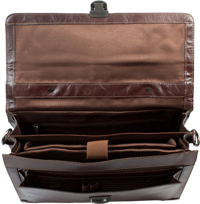 HIDEONLINE ELEGANT & LUXURIOUS ITALIAN BROWN REAL LEATHER BRIEFCASE