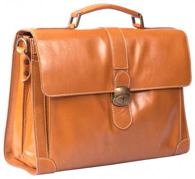 HIDEONLINE ELEGANT & LUXURIOUS ITALIAN TAN REAL LEATHER BRIEFCASE