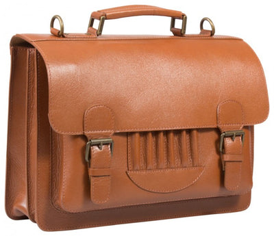 HIDEONLINE VINTAGE TAN BRIDLE LEATHER SATCHEL BRIEFCASE