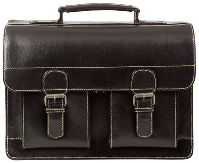 HIDEONLINE VINTAGE BLACK BRIDLE REAL LEATHER SATCHEL BRIEFCASE