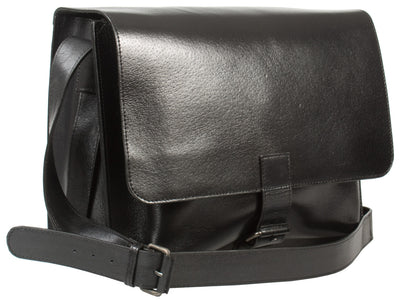 RUGGED VEG TANNED BLACK SADDLE LEATHER MAN BAG / MESSENGER BAG BY HIDEONLINE