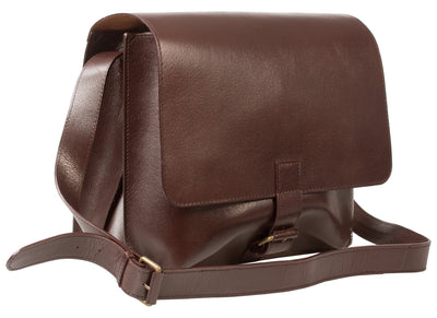 RUGGED VEG TANNED DARK BROWN SADDLE LEATHER MAN BAG / MESSENGER BAG BY HIDEONLINE