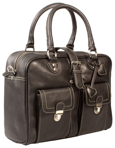 PAGANI BLACK SAFFIANO LEATHER LARGE LADIES BUSINESS BAG / LAPTOP BAG