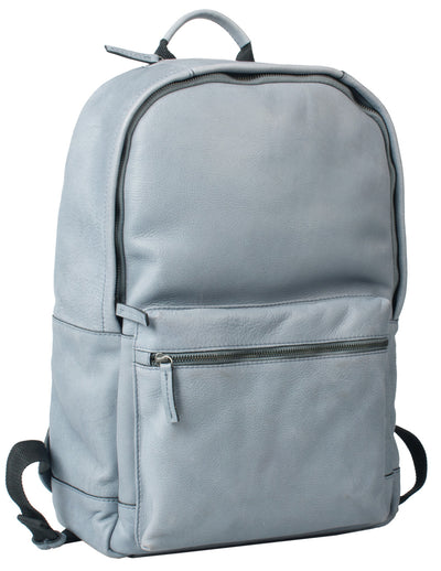 HIDEONLINE DUSTY BLUE REAL LEATHER LAPTOP BACKPACK