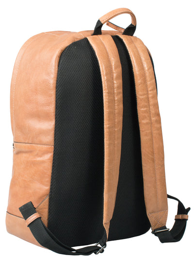 HIDEONLINE TAN COGNAC REAL LEATHER LAPTOP BACKPACK