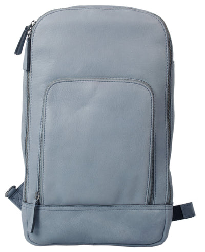 HIDEONLINE DUSTY BLUE REAL LEATHER BACKPACK / SLING BAG