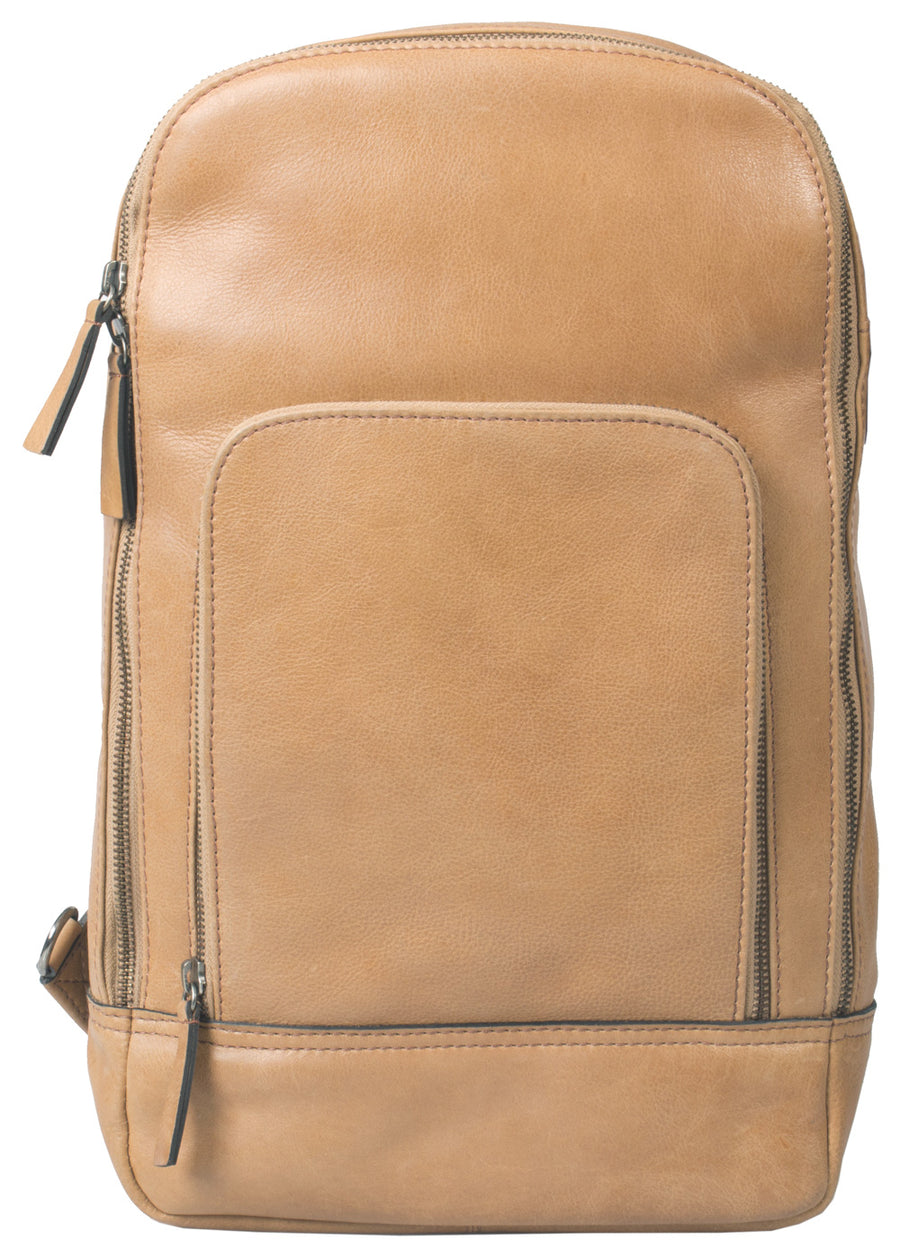 HIDEONLINE TAN/ COGNAC REAL LEATHER BACKPACK / SLING BAG