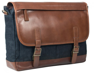 HIDEONLINE LEATHER LAPTOP MESSENGER BAG / MAN BAG IN COGNAC LEATHER AND DENIM
