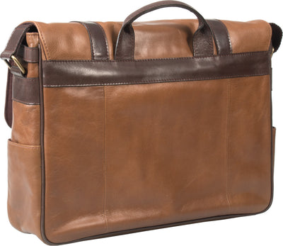 HIDEONLINE TAN/ COGNAC LEATHER LAPTOP MESSENGER / MAN BAG