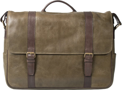 HIDEONLINE OLIVE GREEN LEATHER LAPTOP MESSENGER / MAN BAG