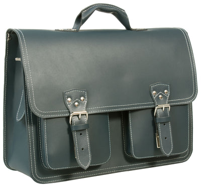 HIDEONLINE RUGGED THICK PETROL BLUE LEATHER LARGE SATCHEL BAG / LARGE BRIEFCASE