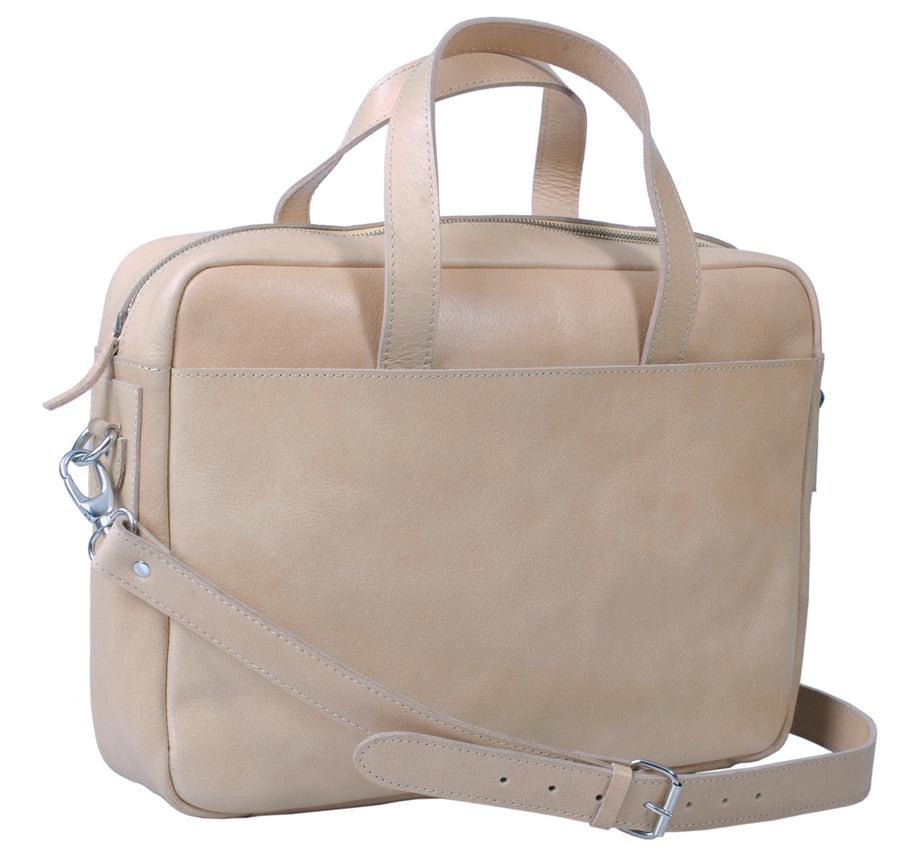 HIDEONLINE LEATHER LAPTOP MESSENGER / SHOULDER BAG IN A NATURAL COLOUR