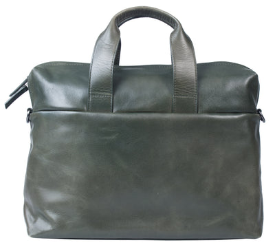 HIDEONLINE FOREST GREEN LEATHER LAPTOP MESSENGER / MAN BAG