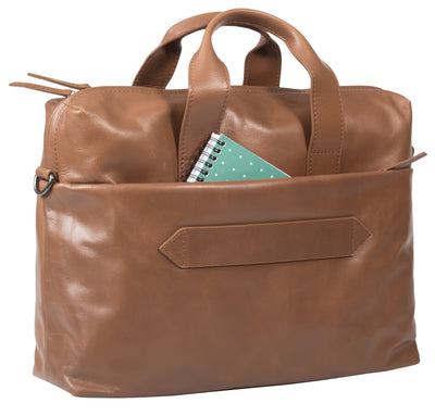 HIDEONLINE TAN LEATHER LAPTOP MESSENGER / MAN BAG