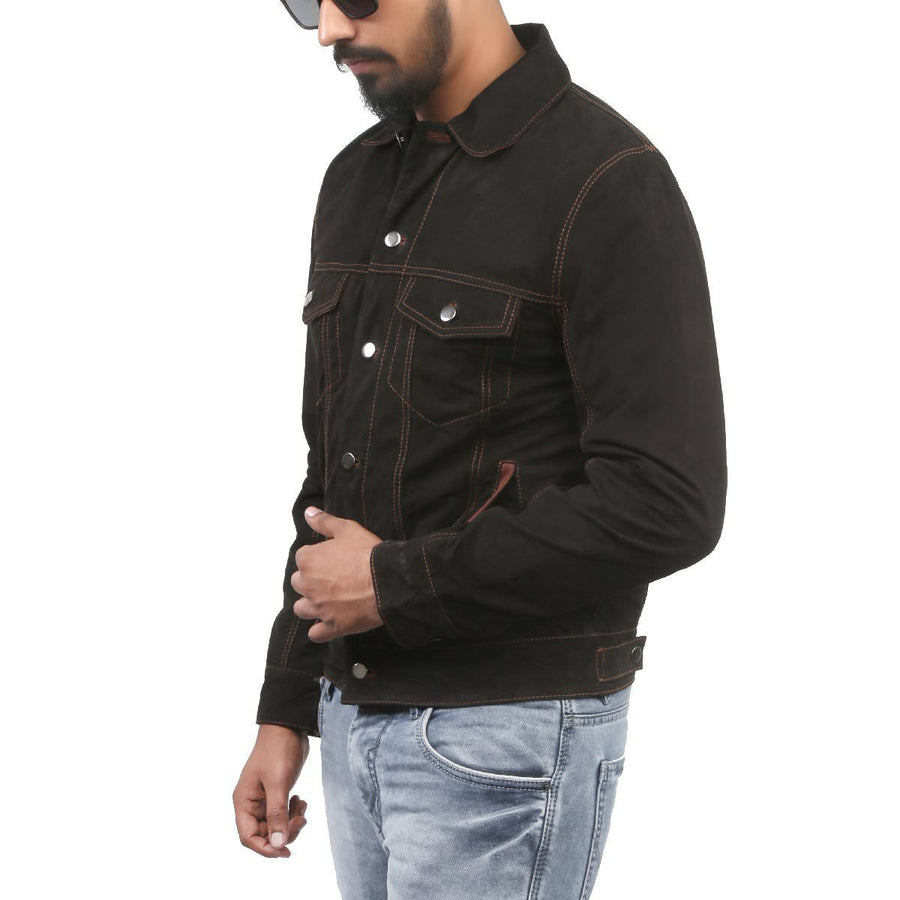 BLACK FRIDAY SALE!! BLACK SOFT SUEDE LEATHER MENS JACKET