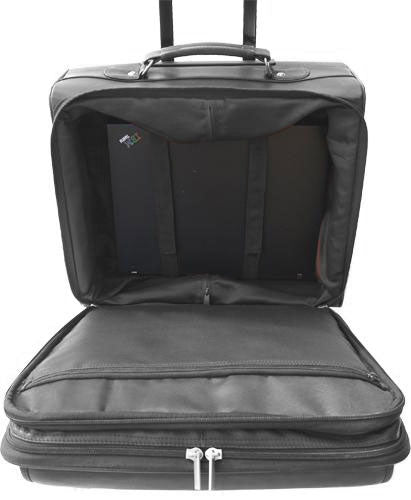 LEATHER TROLLEY CASE / WHEELED BUSINESS BAG IN BLACK