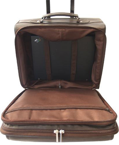 LEATHER TROLLEY CASE / WHEELED BUSINESS BAG IN BROWN