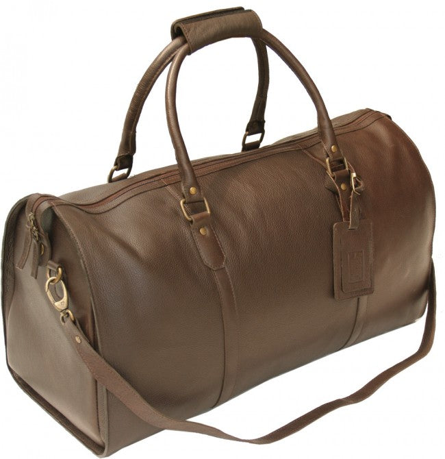 ITALIAN DARK BROWN LEATHER TRAVEL HOLDALL / DUFFLE / CABIN BAG BY HIDEONLINE
