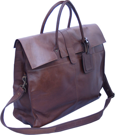 LARGE BROWN REAL LEATHER HOLDALL / DUFFLE / CABIN BAG