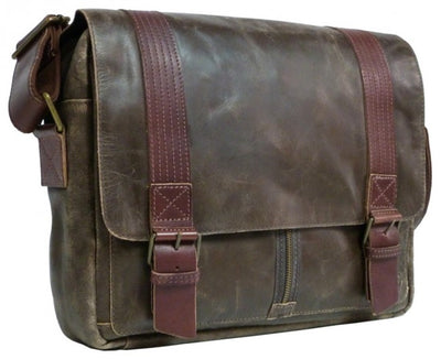 UBERBAG DARK BROWN LEATHER MILITARY MESSENGER / MAN BAG