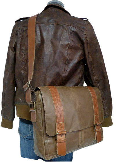 UBERBAG OLIVE BROWN / TAN LEATHER MILITARY MESSENGER / MAN BAG