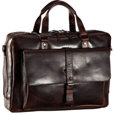 LEONHARD HEYDEN ROMA 5370 BROWN LEATHER ZIPPED BRIEFCASE
