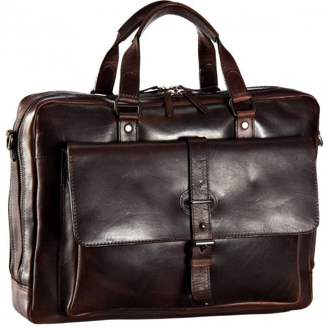 e42db533f9e12 LEONHARD HEYDEN ROMA 5370 BROWN LEATHER ZIPPED BRIEFCASE ...