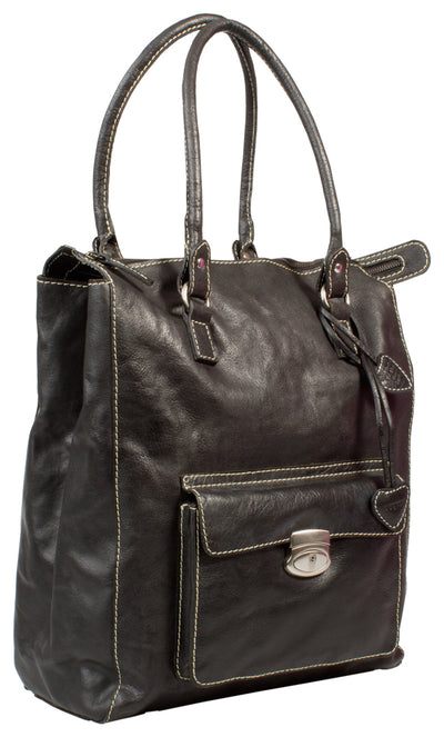PAGANI BLACK REAL LEATHER SHOPPER/ TOTE BAG
