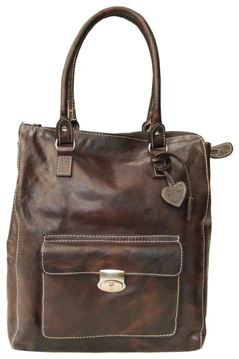 PAGANI DARK BROWN REAL LEATHER SHOPPER/ TOTE BAG