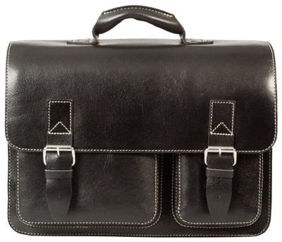 HIDEONLINE RUGGED THICK SADDLE BLACK LEATHER SATCHEL BRIEFCASE / LAPTOP BAG