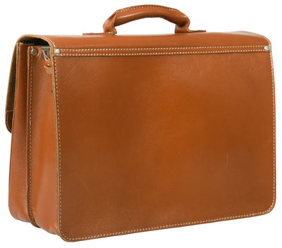 HIDEONLINE RUGGED THICK SADDLE TAN LEATHER SATCHEL BRIEFCASE / LAPTOP BAG