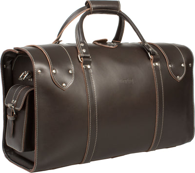 UBERBAG OXFORD VINTAGE VEG TANNED DARK BROWN REAL LEATHER HOLDALL / DUFFLE / CABIN BAG